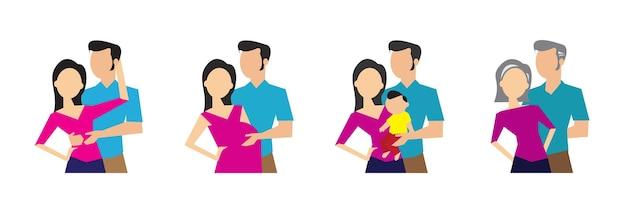 Entwicklungsstadien der familiengeneration vektorillustration