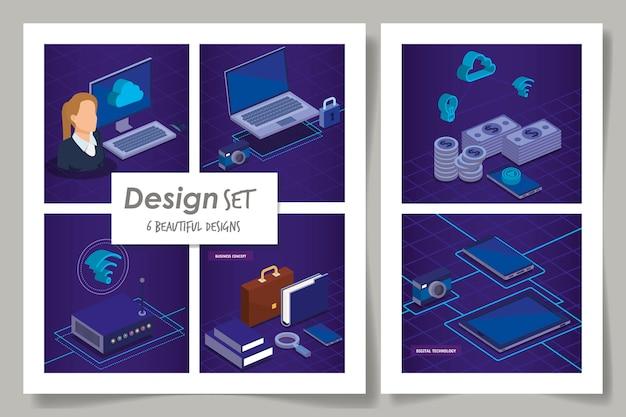 Entwürfe der digitalen technologie und der geschäftsfrau