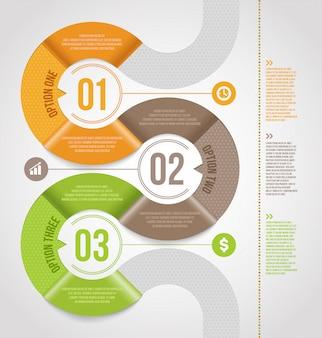 Entwurf der abstrakten infografikenschablone mit nummerierten papierelementen