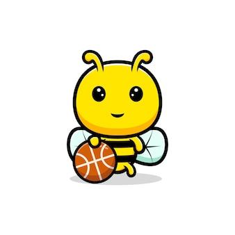 Entwurf der niedlichen honigbiene, die basketball spielt.