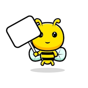 Entwurf der niedlichen honigbiene, die leere texttafel hält.