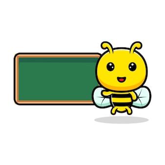 Entwurf der niedlichen honigbiene und der tafel.