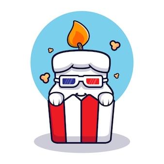 Entwurf der niedlichen kerze, die popcornmaskottchenillustration isst