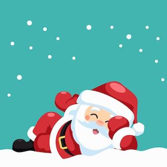 Entwurf des glücklichen weihnachtsmanns liegend
