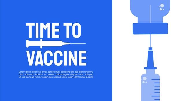 Entwurf des impfkonzepts zeit, ein bannermikroskop und eine spritze mit impfstoff zu impfen