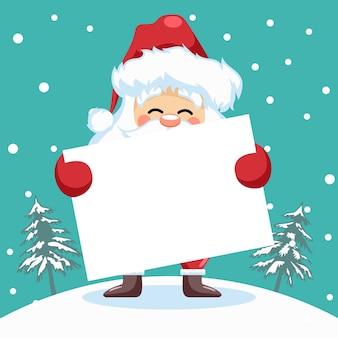 Entwurf des kleinen weihnachtsmanns mit plakat für weihnachtskarte