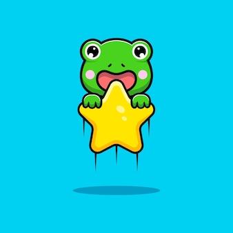 Entwurf des niedlichen frosches, der mit stern schwimmt