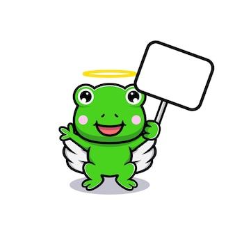 Entwurf des niedlichen frosches mit weißer leerer texttafel