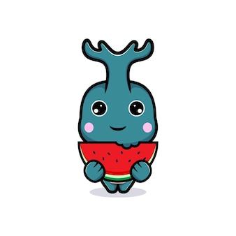 Entwurf des niedlichen hornkäfercharakters, der wassermelonenfrucht isst