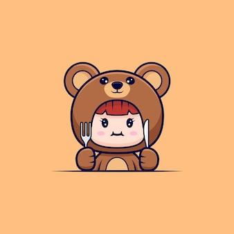 Entwurf des niedlichen mädchens, das bärenkostüm hungrig trägt