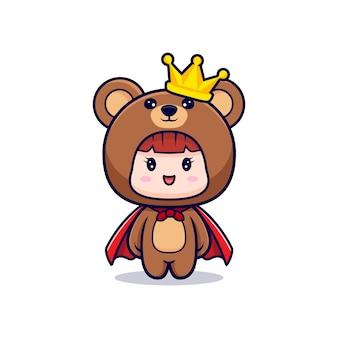 Entwurf des niedlichen mädchens, das bärenkostüm mit krone und robe trägt