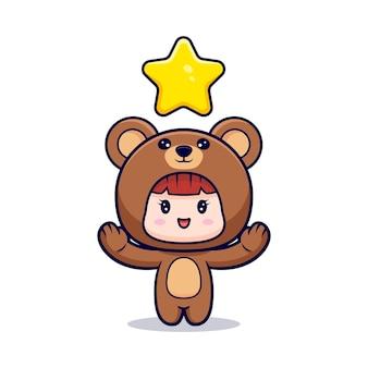 Entwurf des niedlichen mädchens, das bärenkostüm mit stern trägt