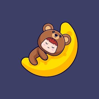 Entwurf des niedlichen mädchens, das bärenkostüm trägt, das im mond schläft