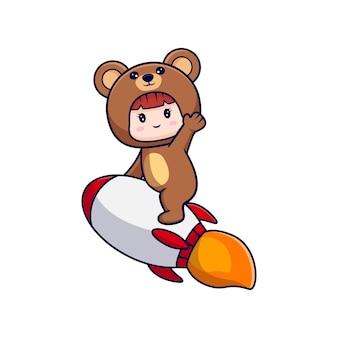 Entwurf des niedlichen mädchens, das bärenkostüm trägt, das rakete zum himmel reitet