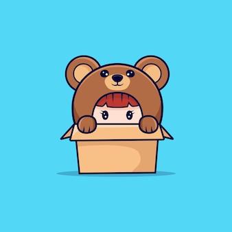 Entwurf des niedlichen mädchens, das bärenkostüm trägt, spähen aus der box heraus