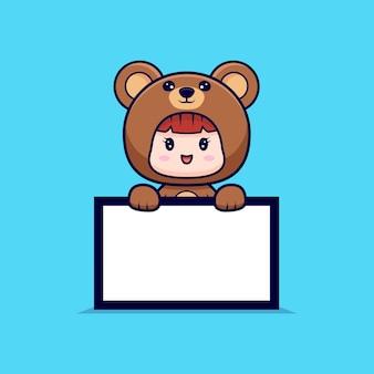 Entwurf des niedlichen mädchens, das bärenkostüm trägt und leere texttafel hält