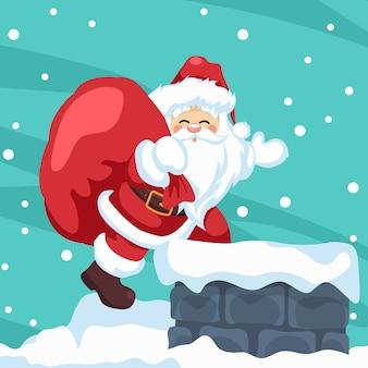 Entwurf des weihnachtsmannes, der den kamin an weihnachten betritt