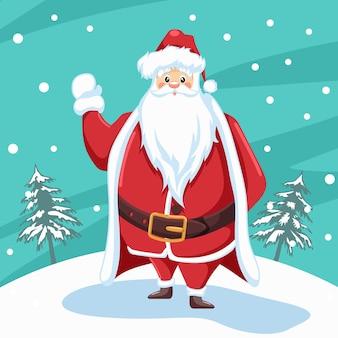 Entwurf des weihnachtsmannes, der für weihnachten mit schneelandschaftshintergrund winkt