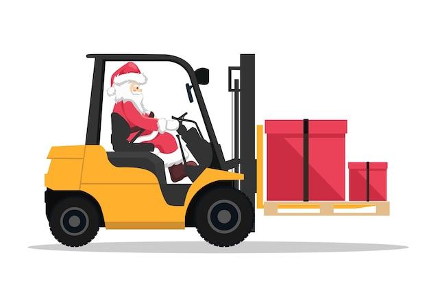 Entwurf des weihnachtsmanns, der einen gabelstapler mit einer geschenkbox fährt