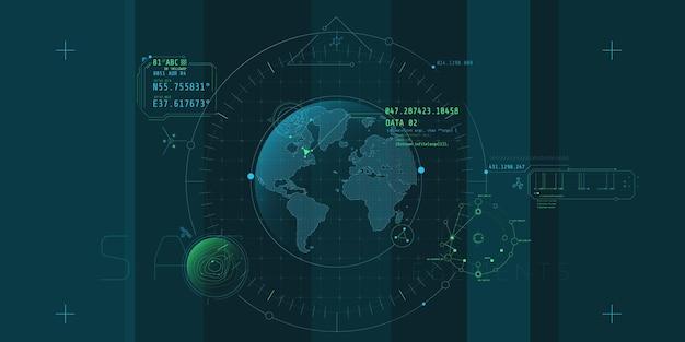 Entwurf einer futuristischen softwareschnittstelle zur verfolgung eines objekts auf dem planeten.