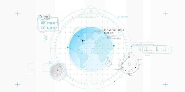 Entwurf einer futuristischen softwareschnittstelle zur verfolgung eines objekts Premium Vektoren