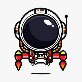 Entwurf eines astronauten, der ein jetpack fährt