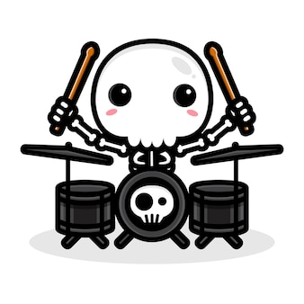 Entwurf eines schädelcharakters, der eine trommel spielt