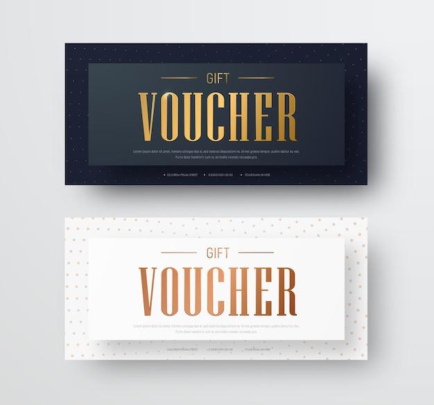 Entwurf eines vektorgeschenkgutscheins mit goldenem text und schwebendem effekt.