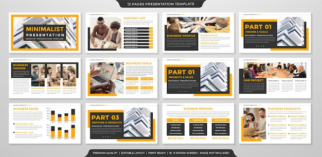 Entwurf von geschäftspräsentationsvorlagen mit minimalistischem stil für geschäftsportfolio und geschäftsbericht