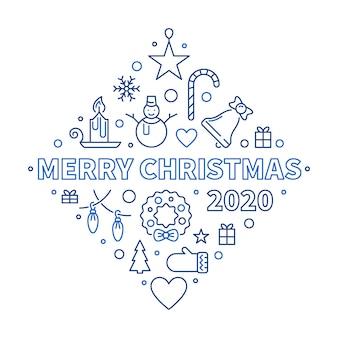 Entwurfs-grußkarte der frohen weihnachten 2020. illustration