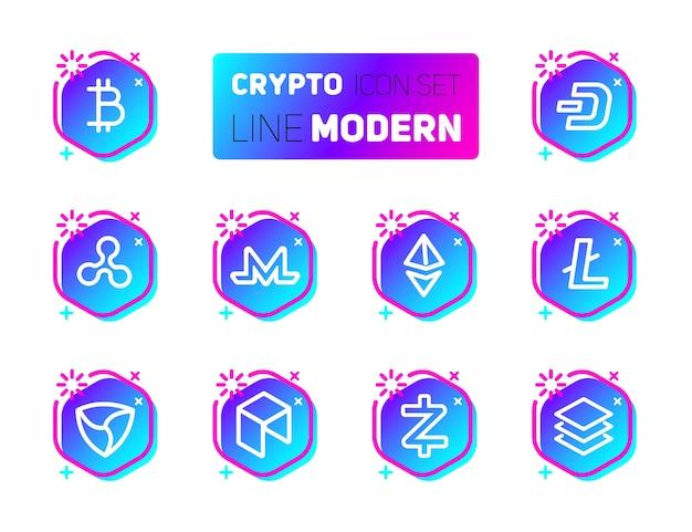 Entwurfsikonen stellten von cryptocurrency thema ein.