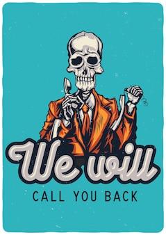 Entwurfsillustration des toten call-center-betreibers