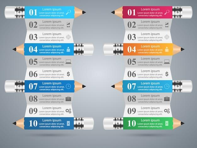 Entwurfsschablone und marketing-ikonen der infographic 3d