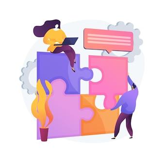 Entwurfsstrukturmatrix abstrakte konzeptvektorillustration. visuelle projektdarstellung, systemanalyse, projektmanagement, organisationsteam, produktkomponente, abstrakte metapher des zeitrahmens.