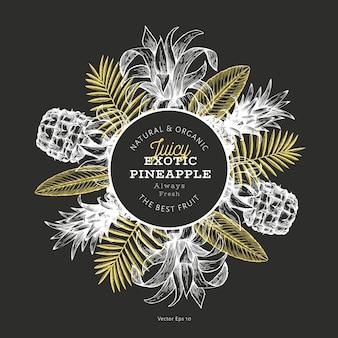 Entwurfsvorlage für ananas und tropische blätter