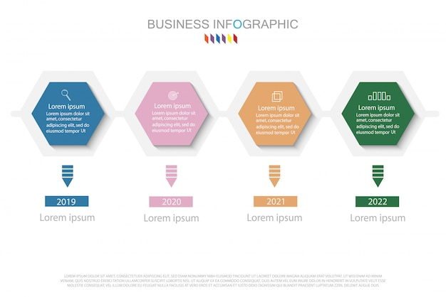 Entwurfsvorlage für business-infografiken. zeitleiste mit 4 schritten