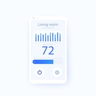 Entwurfsvorlage für die mobile benutzeroberfläche der thermostat-app