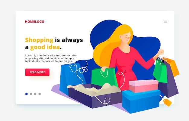 Entwurfsvorlage für eine webseite. nach dem einkauf mit einkäufen. online-shopping für frauen.