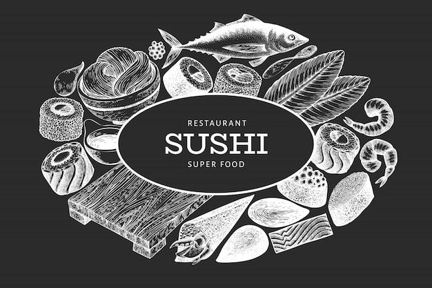 Entwurfsvorlage für japanische küche. gezeichnete vektorillustration der sushi hand auf kreidebrett. asiatischer lebensmittelhintergrund des retrostils.