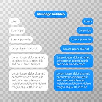 Entwurfsvorlage für nachrichtenblasen für messenger-chat