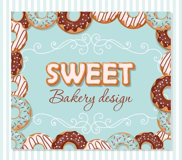 Entwurfsvorlage für süße bäckerei. gezeichnete buchstaben der karikatur hand und donutrahmen auf blau.