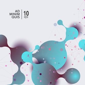 Entwurfsvorlage für vektor-illustration. abstrakter hintergrund der wissenschaft und der medizin mit verbindungsmolekülen und -atomen
