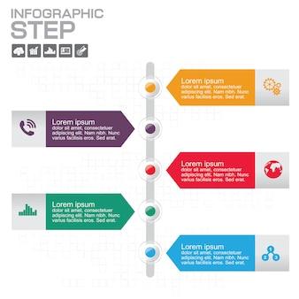 Entwurfsvorlage für zeitleisten-infografiken mit 5 optionen, prozessdiagramm