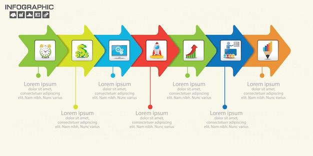 Entwurfsvorlage für zeitleisten-infografiken mit optionen, prozessdiagramm.