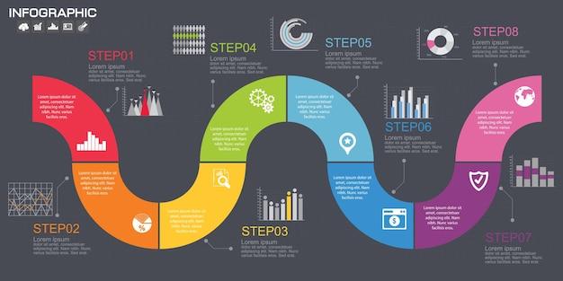 Entwurfsvorlage für zeitleisten-infografiken mit optionen, prozessdiagramm