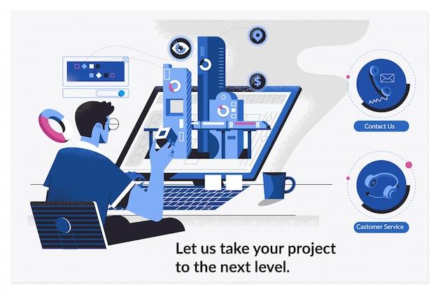 Entwurfsvorlagen für webseiten für arbeitsebenen am projekt. entwickler arbeitet an einem neuen projekt