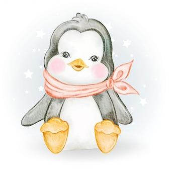 Entzückende aquarellillustration des baby-pinguins