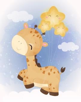 Entzückende babygiraffe, die mit sternen spielt