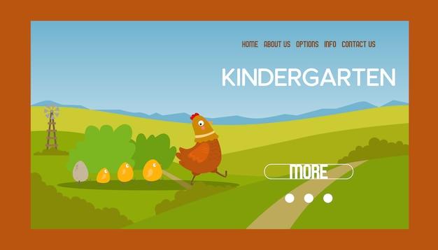 Entzückende bannerillustration von henne und küken. huhn mit brut. nette reizende familie von hausgeflügel oder geflügelvögeln auf wiese. website-design des kindergartens. landwirtschaft.