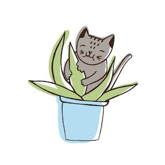 Entzückende böse katze, die zimmerpflanzen frisst. freche kätzchen-nagende pflanze, die im topf wächst